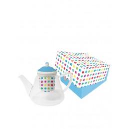 """Dzbanek """"La Lavande"""" w kolorze białym ze wzorem do herbaty - 1 l"""
