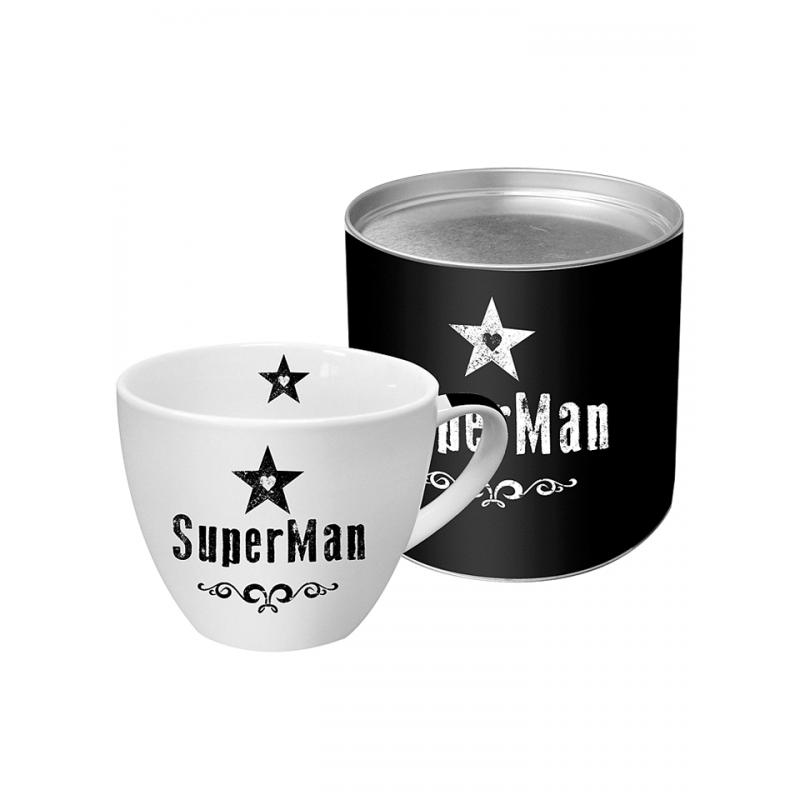"""Duży kubek """"Super Man"""" w kolorze biało-czarnym - 400 ml"""