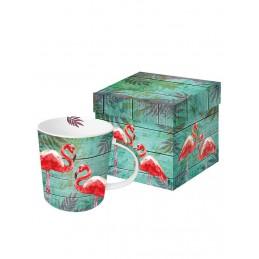 """Duży kubek """"Summer Flamingos"""" w kolorze zielono-różowym - 350 ml"""