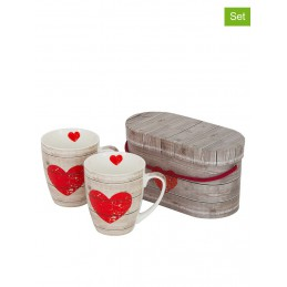 """Duże kubki (2 szt.) """"Heart of Wood"""" w kolorze beżowo-czerwonym - 350 ml"""