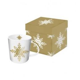"""Akcesoria/ceramika Kubek jumbo """"Ice"""" w kolorze biało-złotym - 350 ml 70,00zł"""