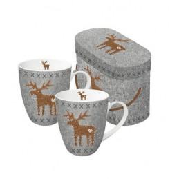 """Akcesoria/ceramika Duże kubki (2 szt.) """"Felt Reindeer"""" w kolorze szaro-brązowym - 350 ml 87,50zł"""