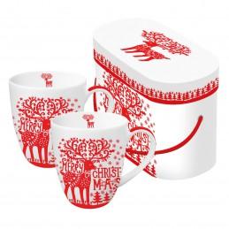 "Akcesoria/ceramika Duże kubki 2 szt. ""Merry Deer"" - 350 ml 85,00zł"